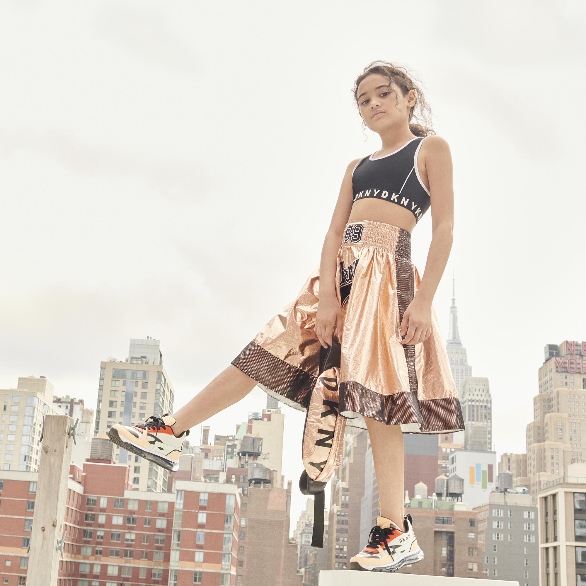 Jupe évasée avec mesh et patch DKNY pour FILLE