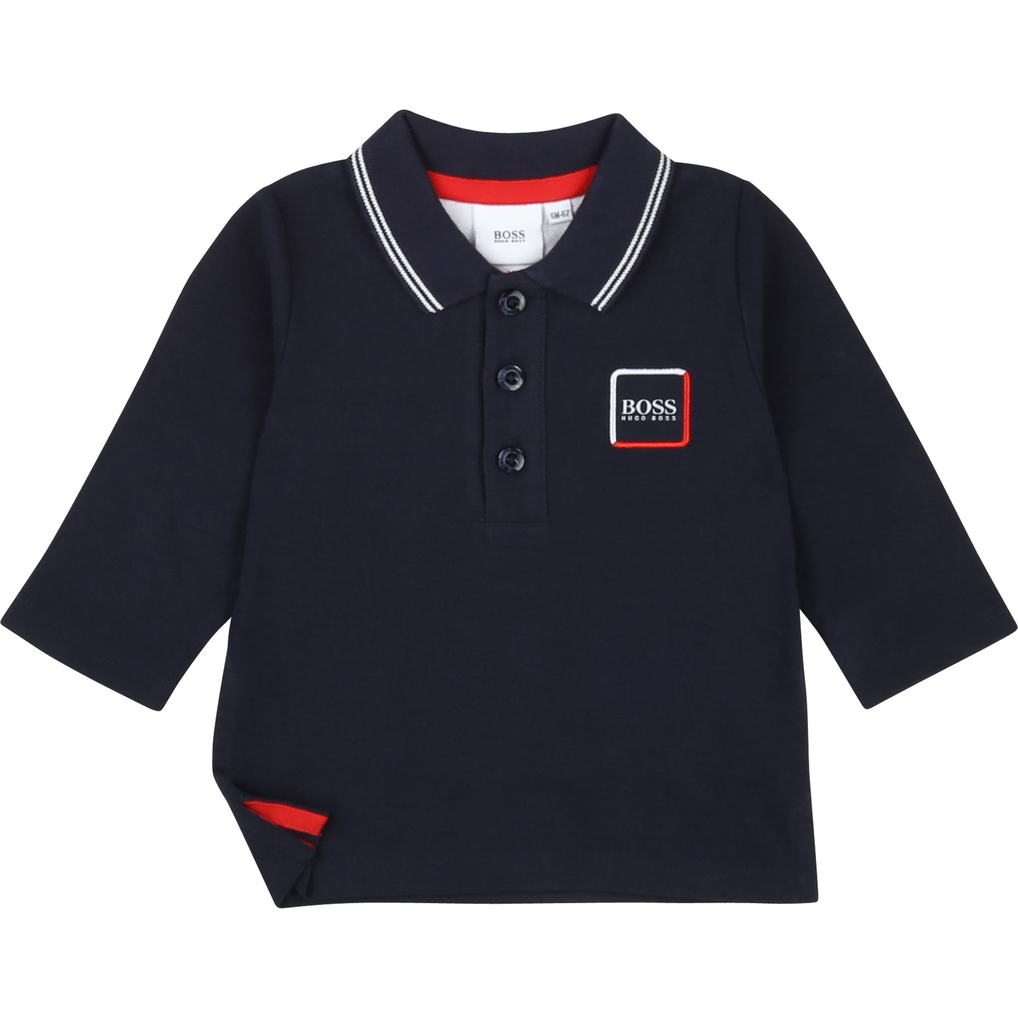 Cotton polo with side slits BOSS for BOY