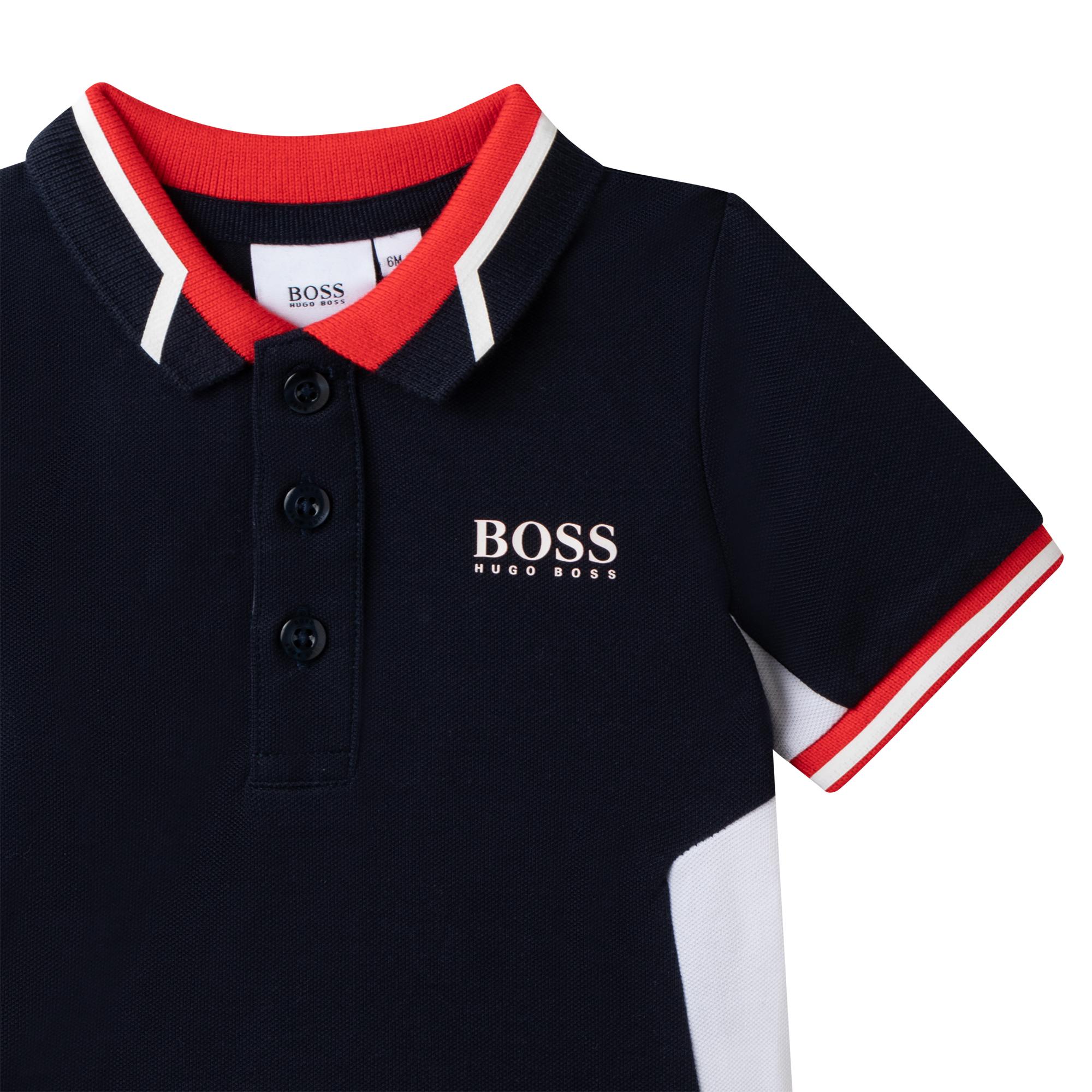 Polo piqué de coton extensible BOSS pour GARCON