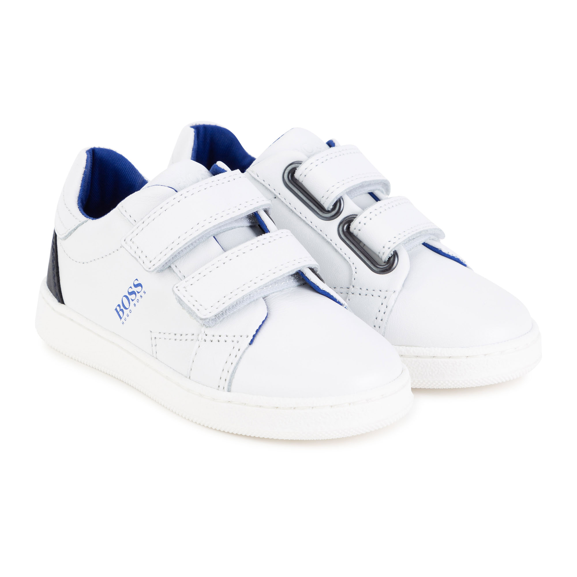 Hook-and-loop leather sneakers BOSS for BOY