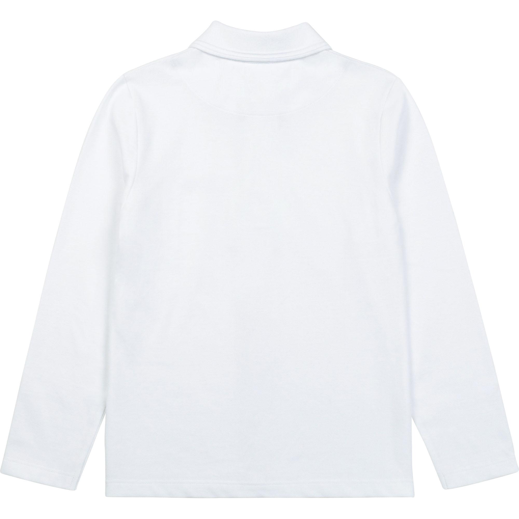 Plain cotton piqué polo BOSS for BOY