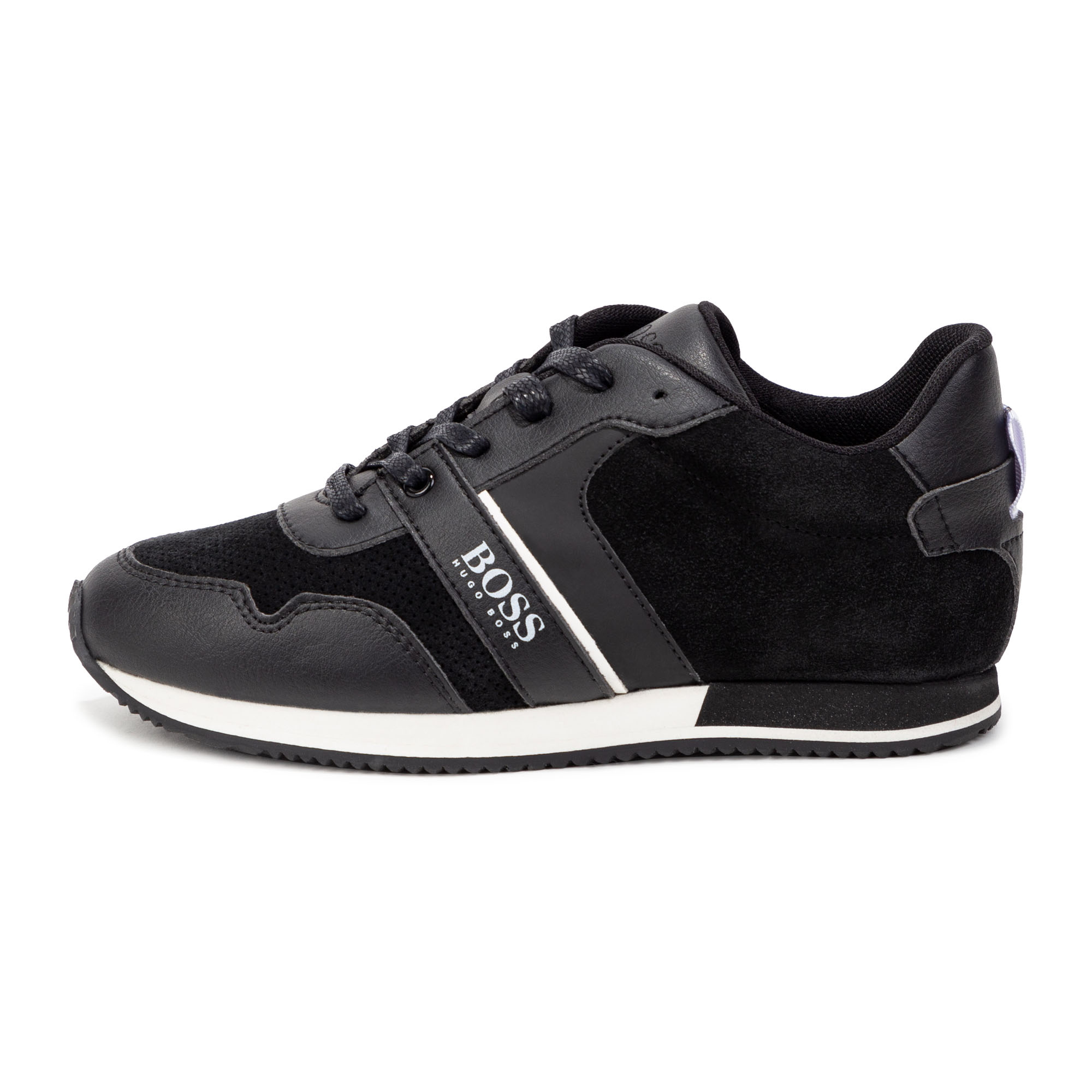 Lace-up leather sneakers. BOSS for BOY