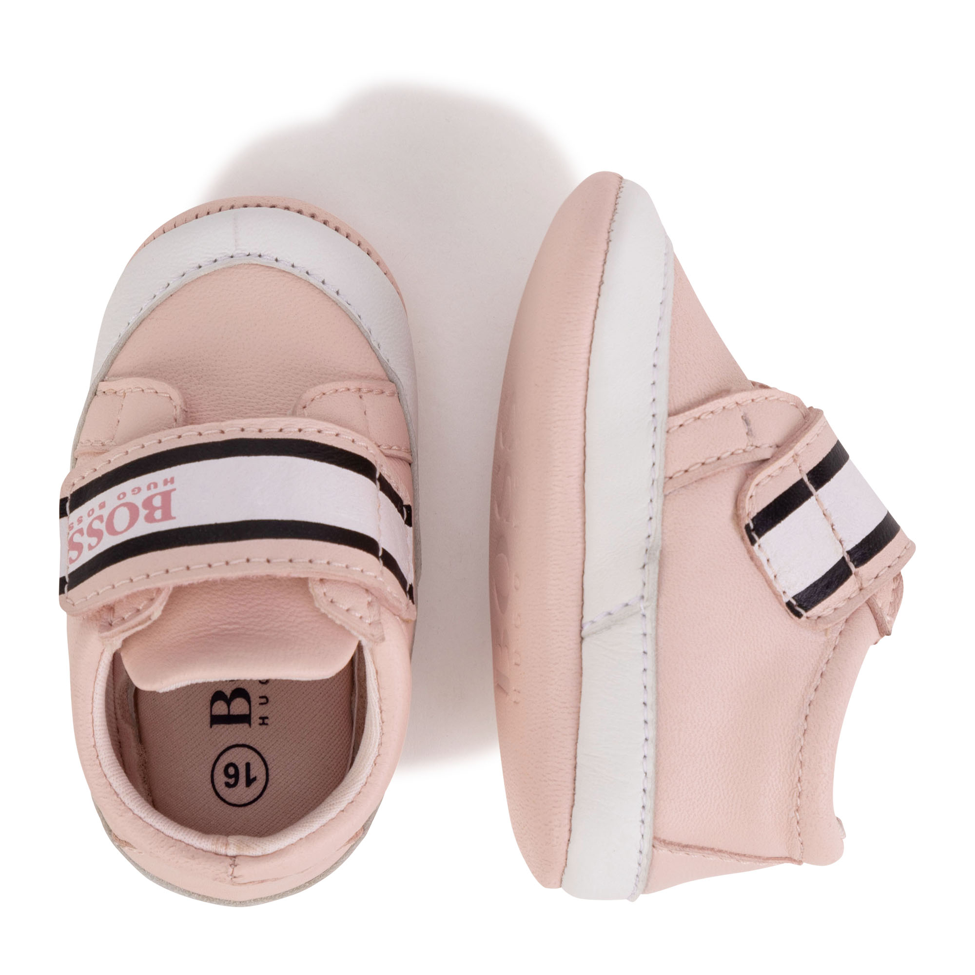 Leather baby shoes with hook and loop fastening BOSS for GIRL