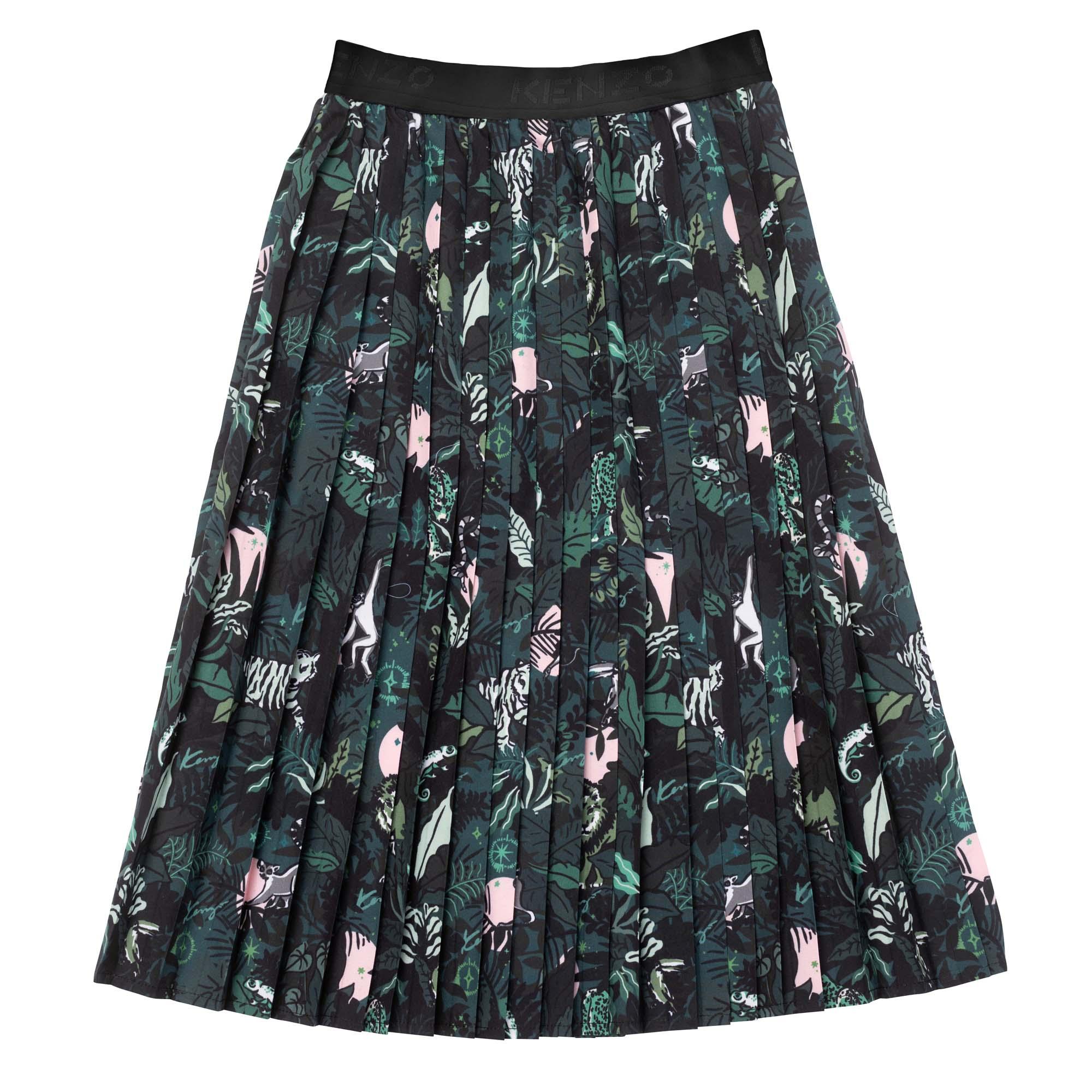 Pleated and lined poplin skirt KENZO KIDS for GIRL