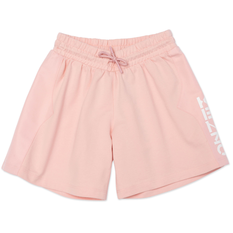 Dual-material logo shorts KENZO KIDS for GIRL