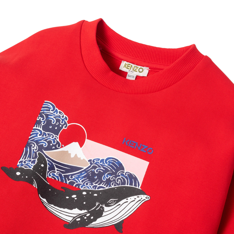 Sweat en coton imprimé baleine KENZO KIDS pour FILLE