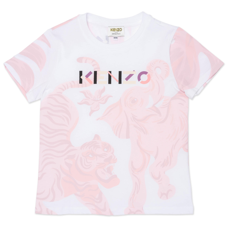T-shirt à manches courtes en coton biologique KENZO KIDS pour FILLE