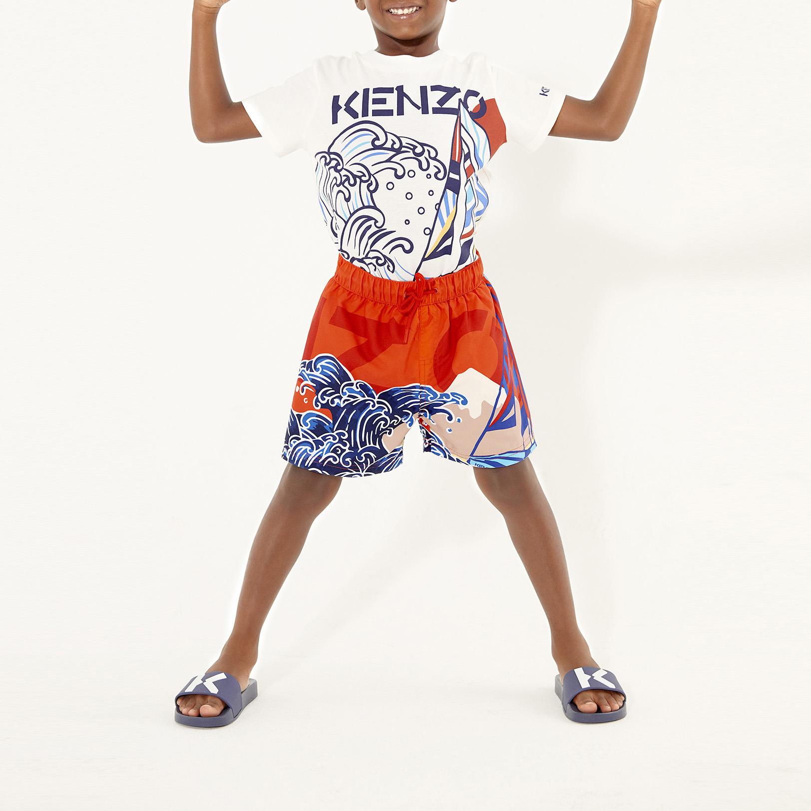 T-shirt sérigraphié voilier en coton biologique KENZO KIDS pour GARCON