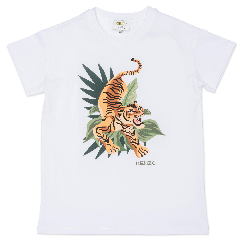 T-shirt avec Tigre imprimé en coton biologique KENZO KIDS pour GARCON