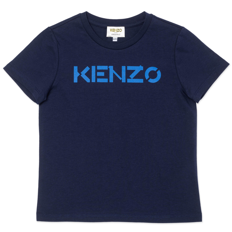 T-shirt à logo imprimé en coton biologique KENZO KIDS pour GARCON