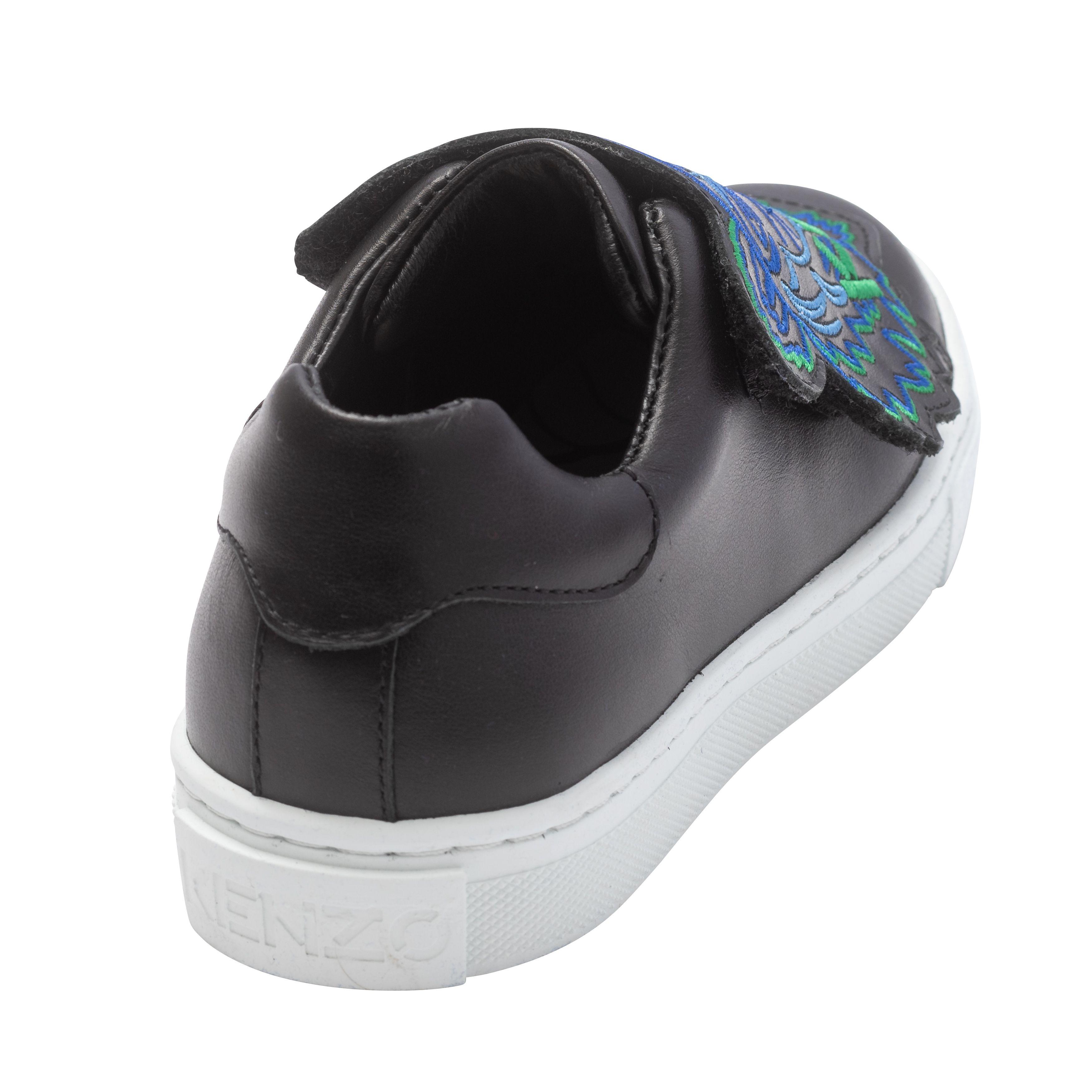 Sneakers à scratch cuir brodé KENZO KIDS pour GARCON