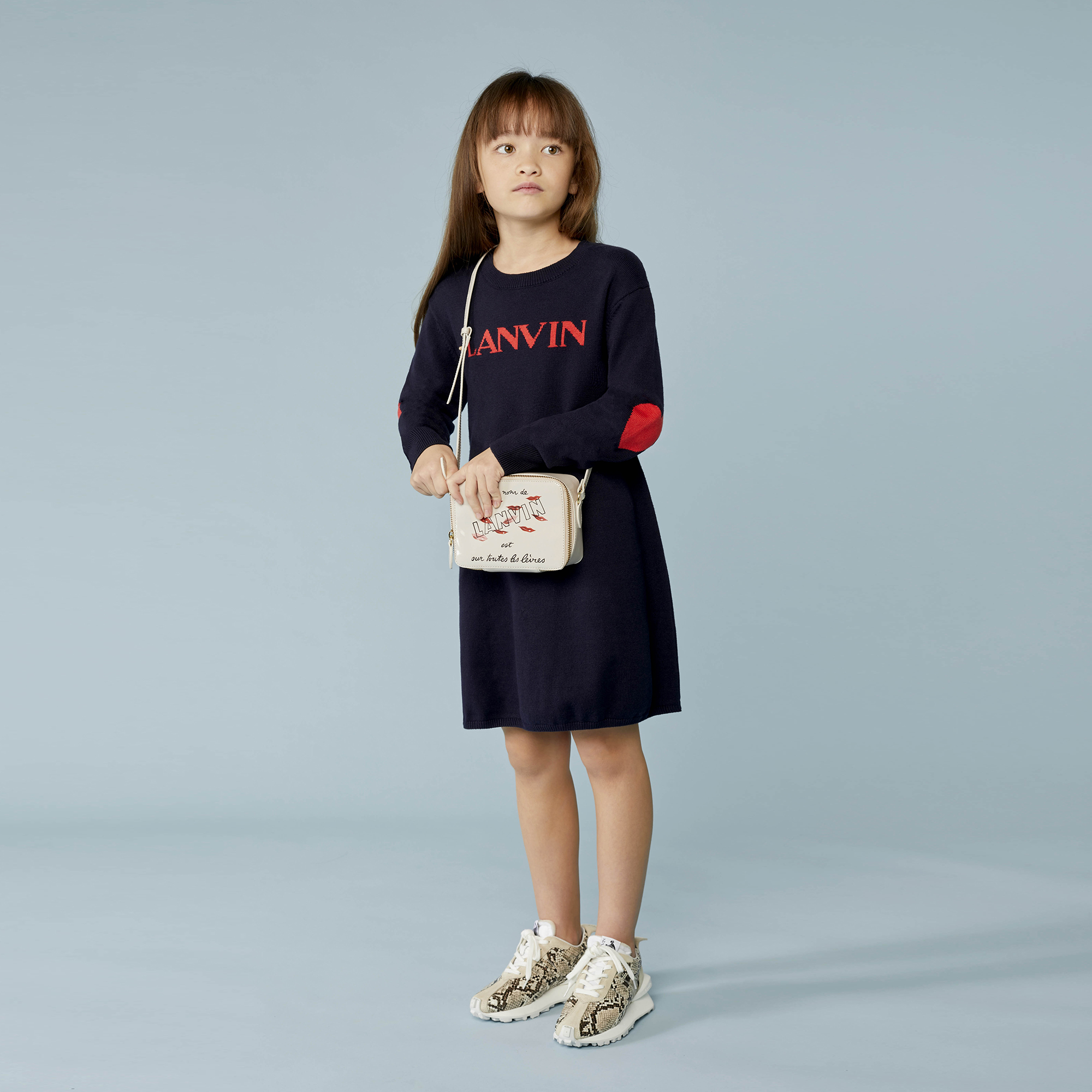 Cotton tricot and wool dress LANVIN for GIRL