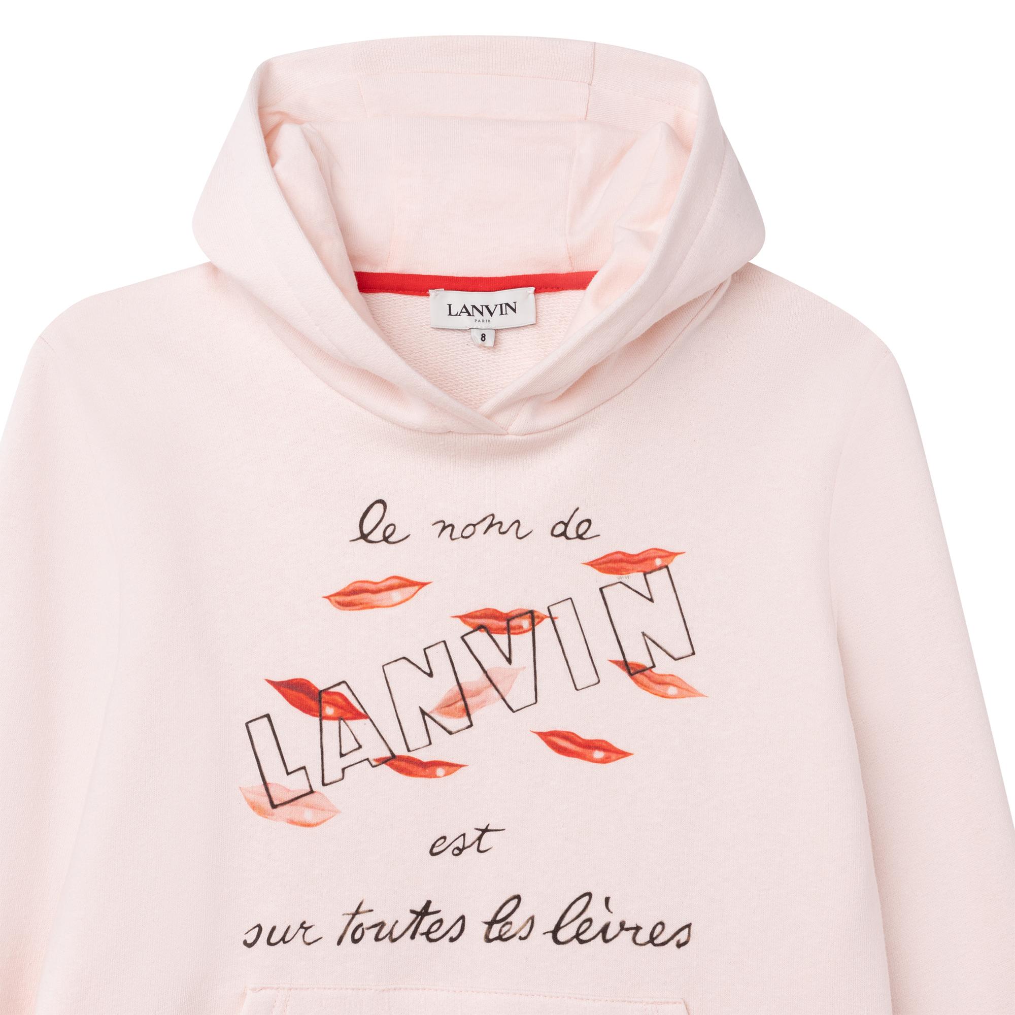 Robe sweat à capuche en coton LANVIN pour FILLE