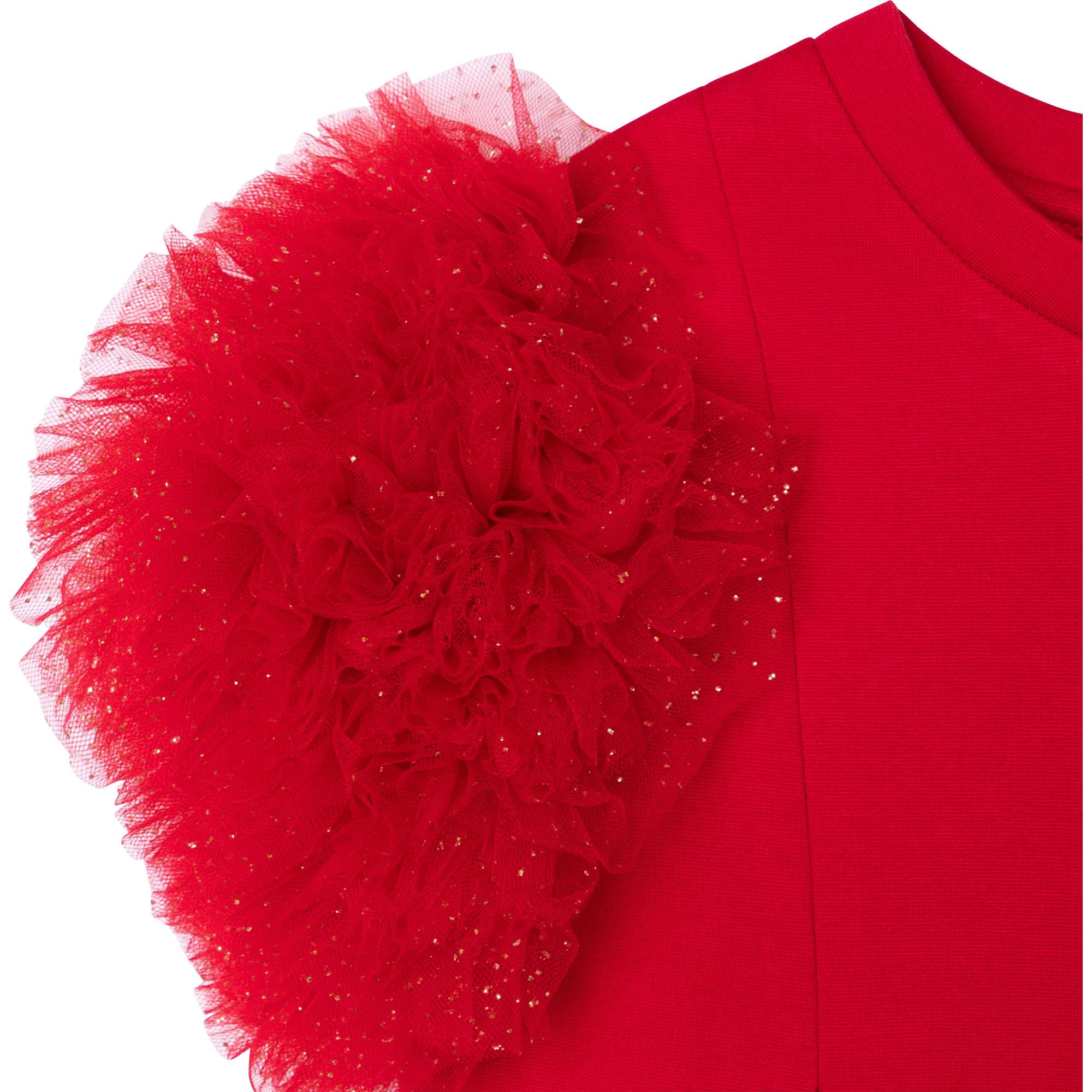 Pompom-sleeve dress CHARABIA for GIRL