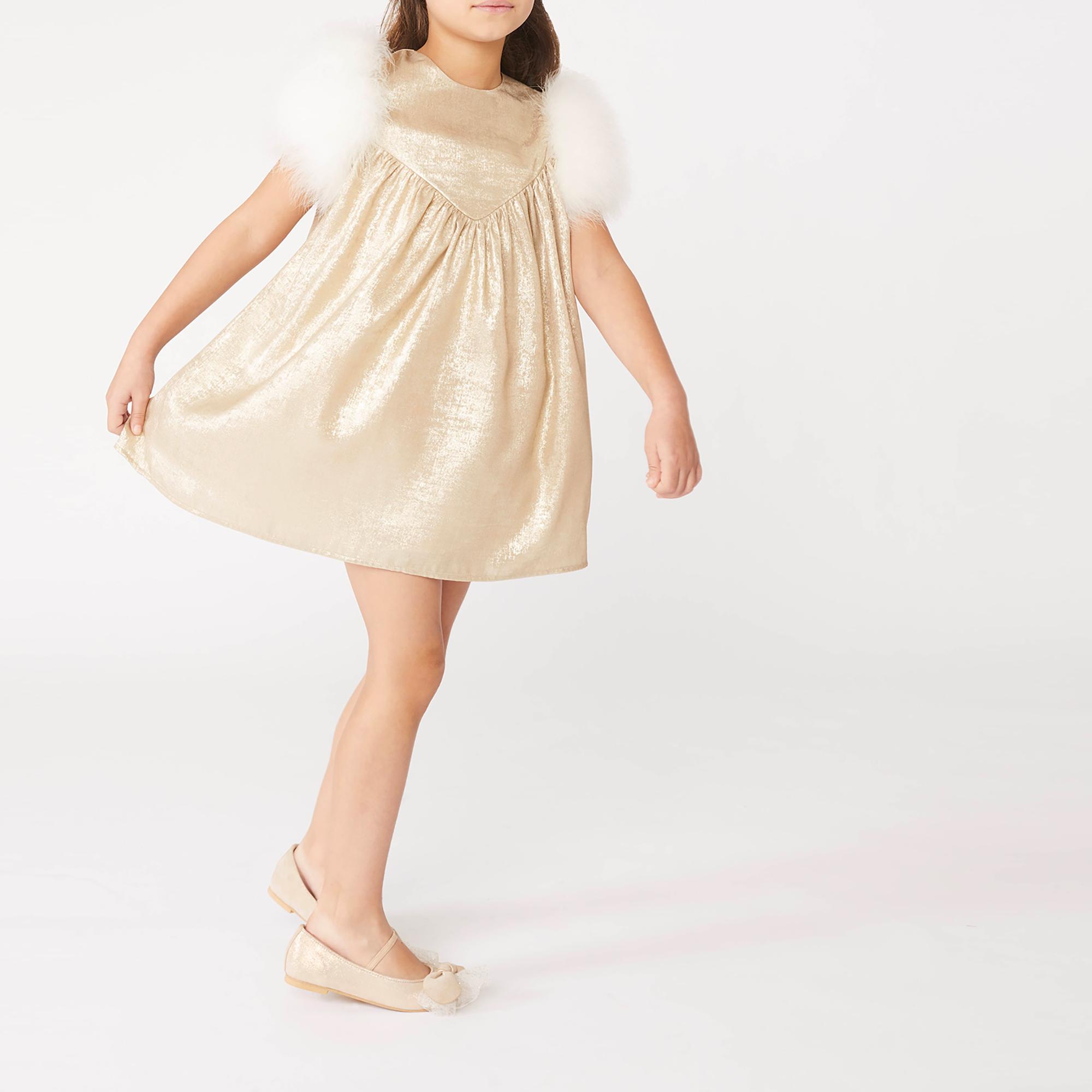 Feathered-sleeve metallic dress CHARABIA for GIRL