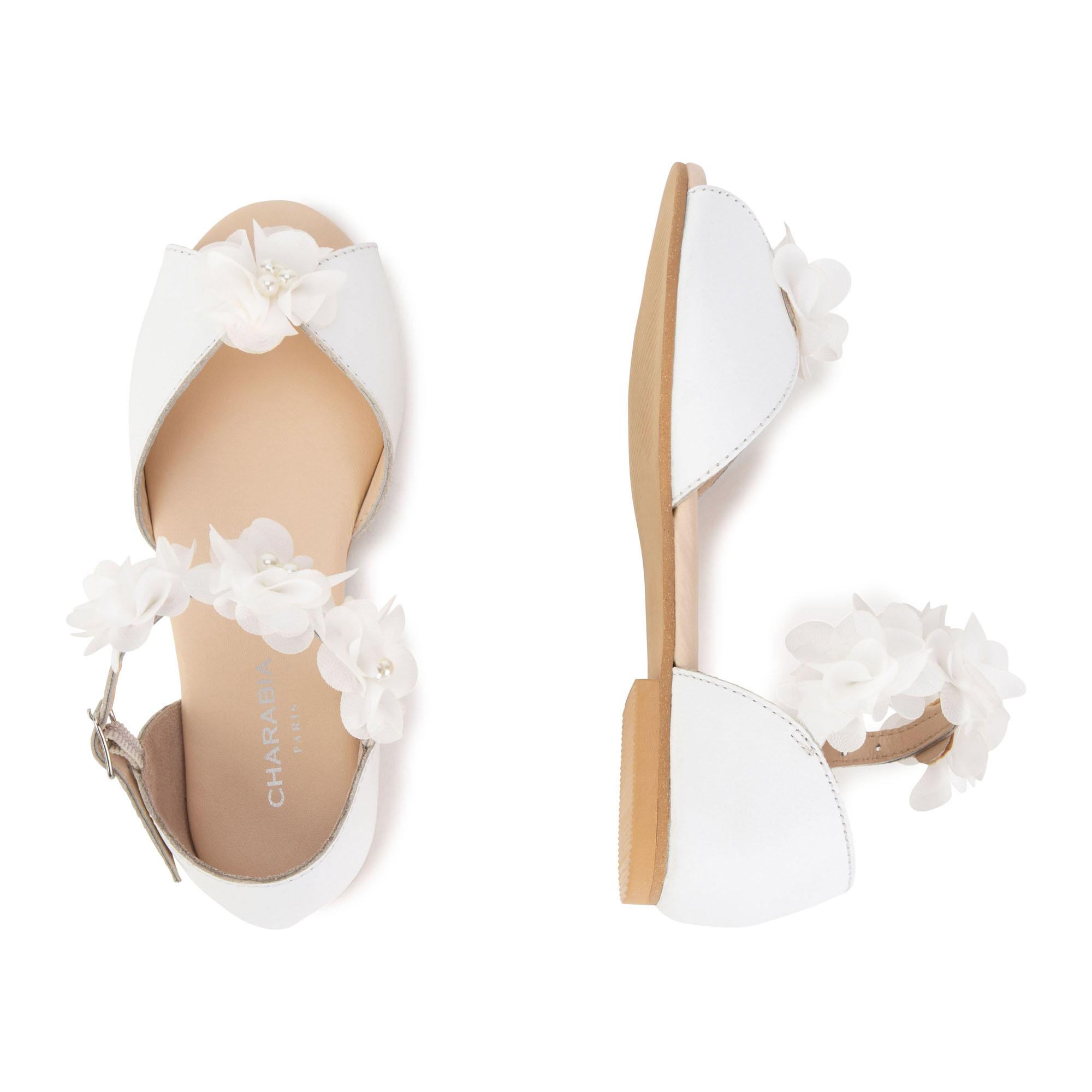 Sandales en cuir avec fleurs CHARABIA pour FILLE