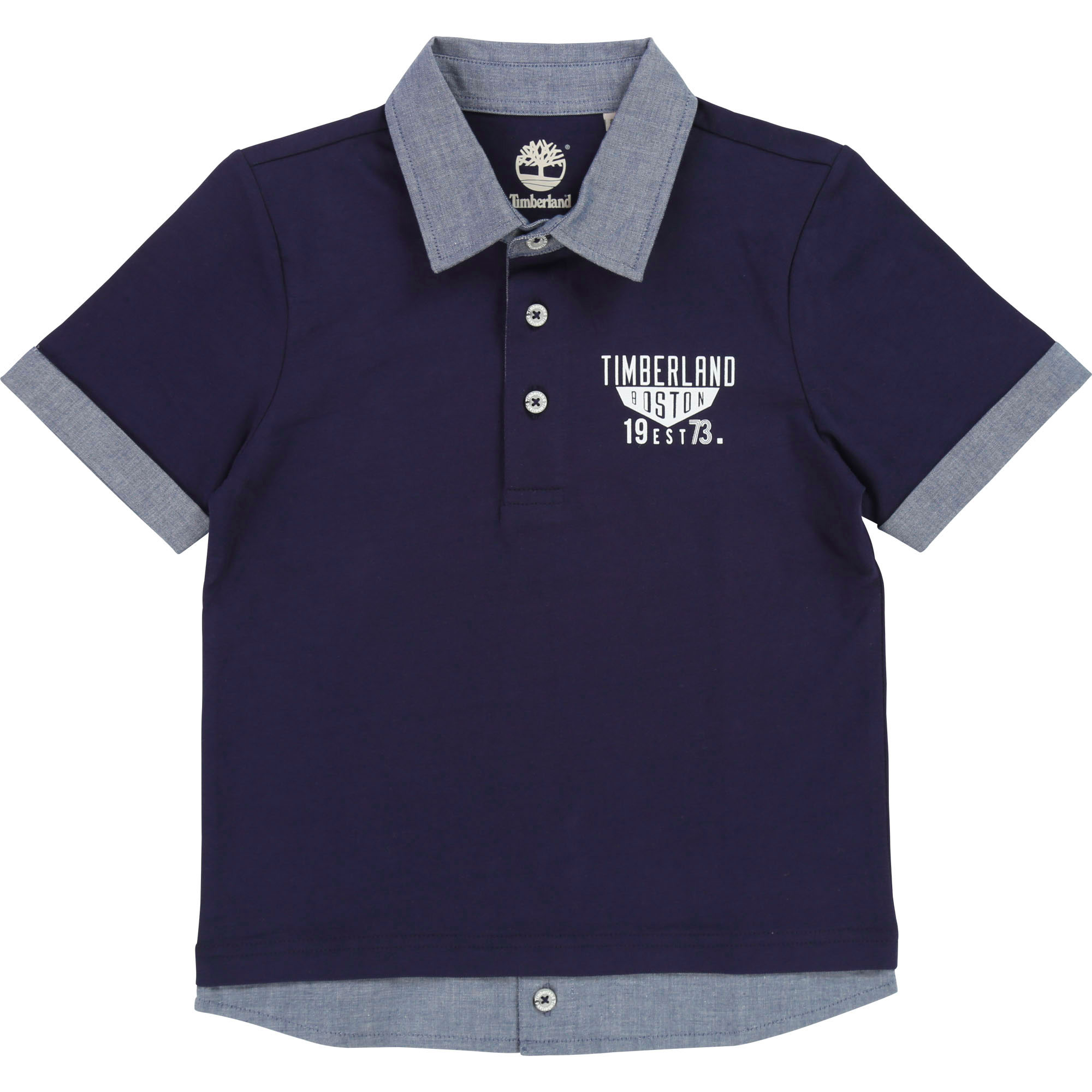 Slim-fit dual-material polo TIMBERLAND for BOY