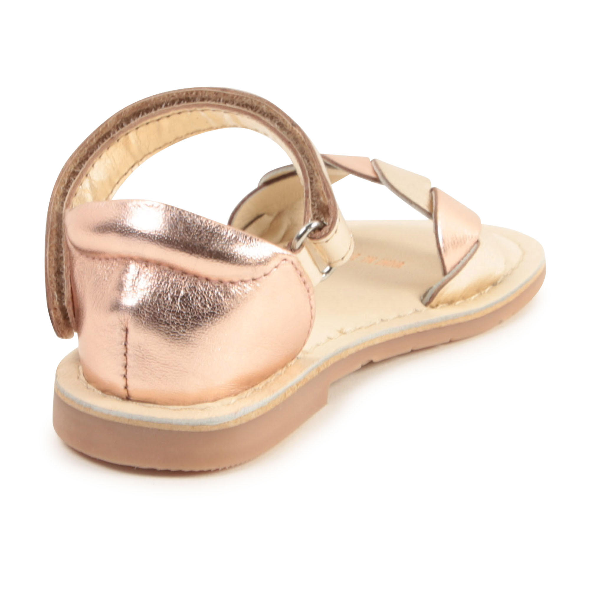 Leather hook-and-loop sandals CARREMENT BEAU for GIRL
