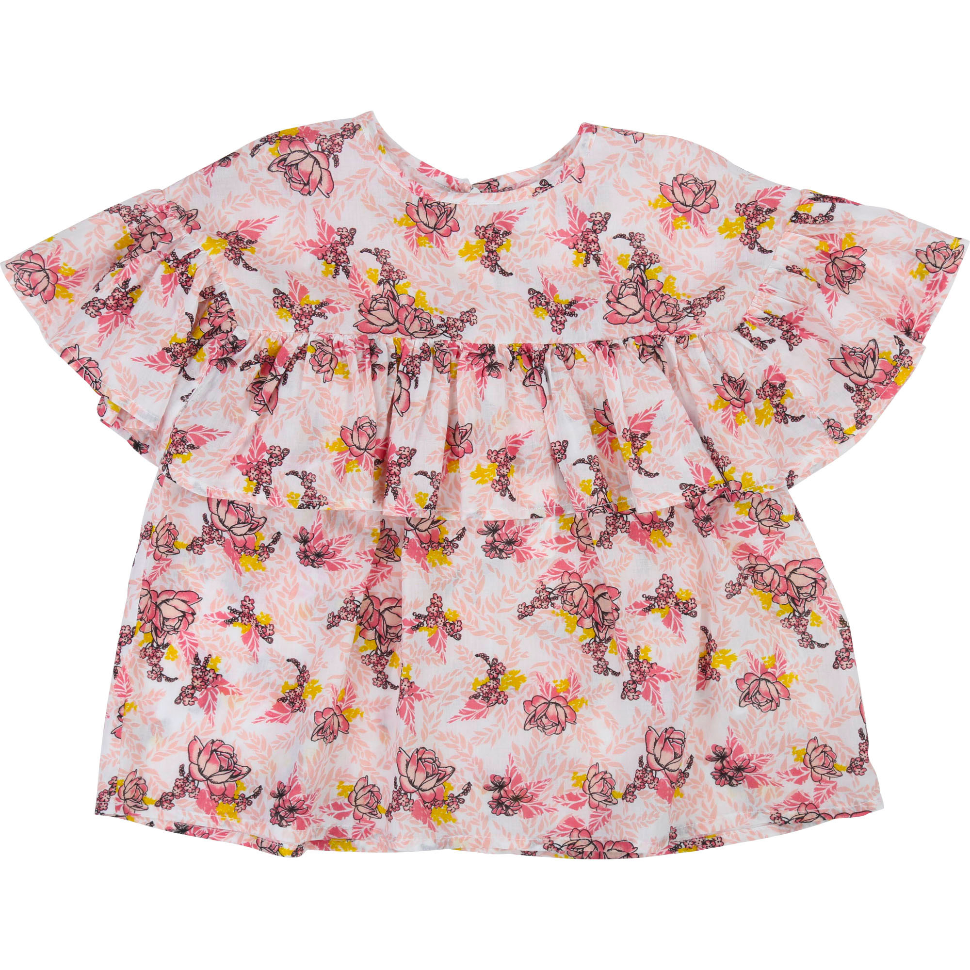Frilled round-neck blouse CARREMENT BEAU for GIRL