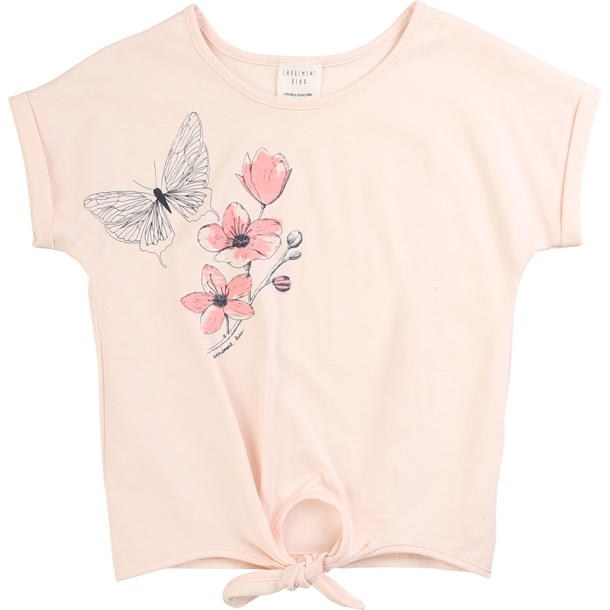 Short-sleeved knotted T-shirt CARREMENT BEAU for GIRL