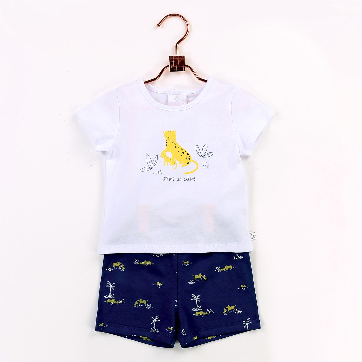 Ensemble T-shirt et short en coton biologique CARREMENT BEAU pour GARCON