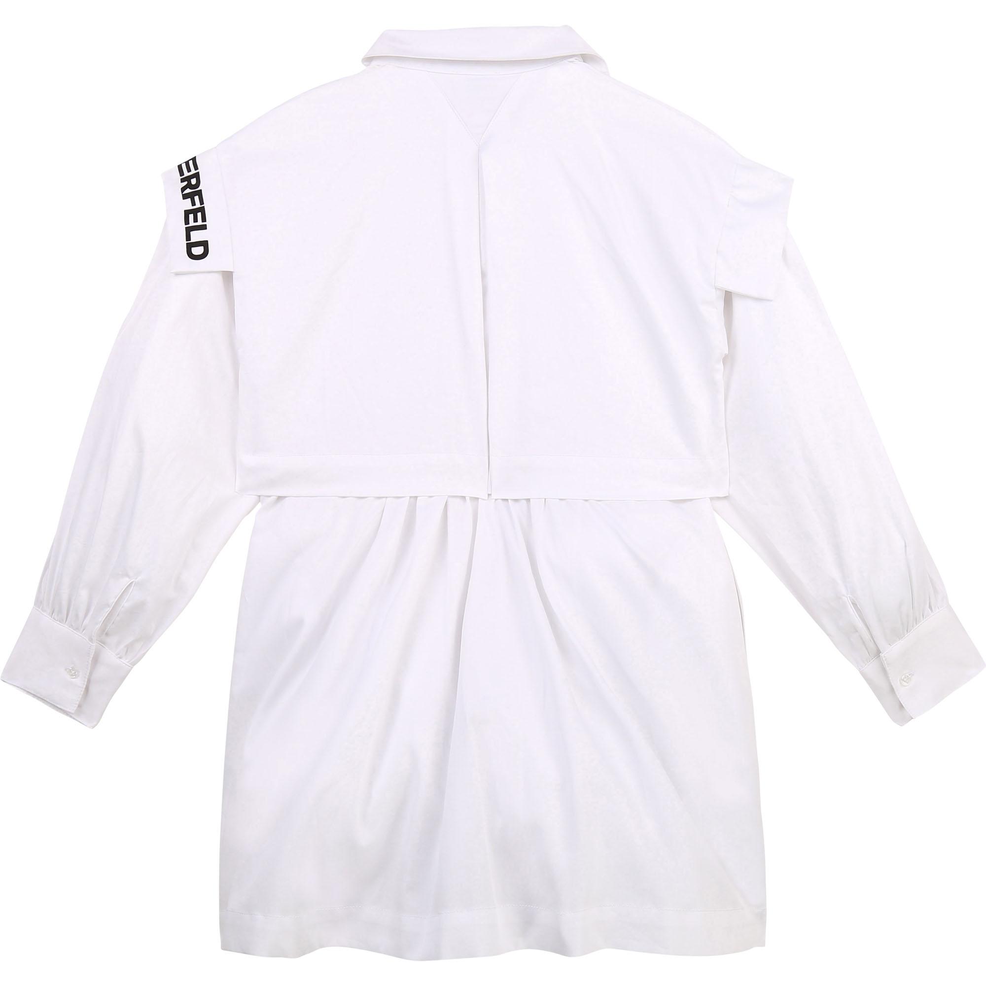 Cotton poplin shirt dress KARL LAGERFELD KIDS for GIRL