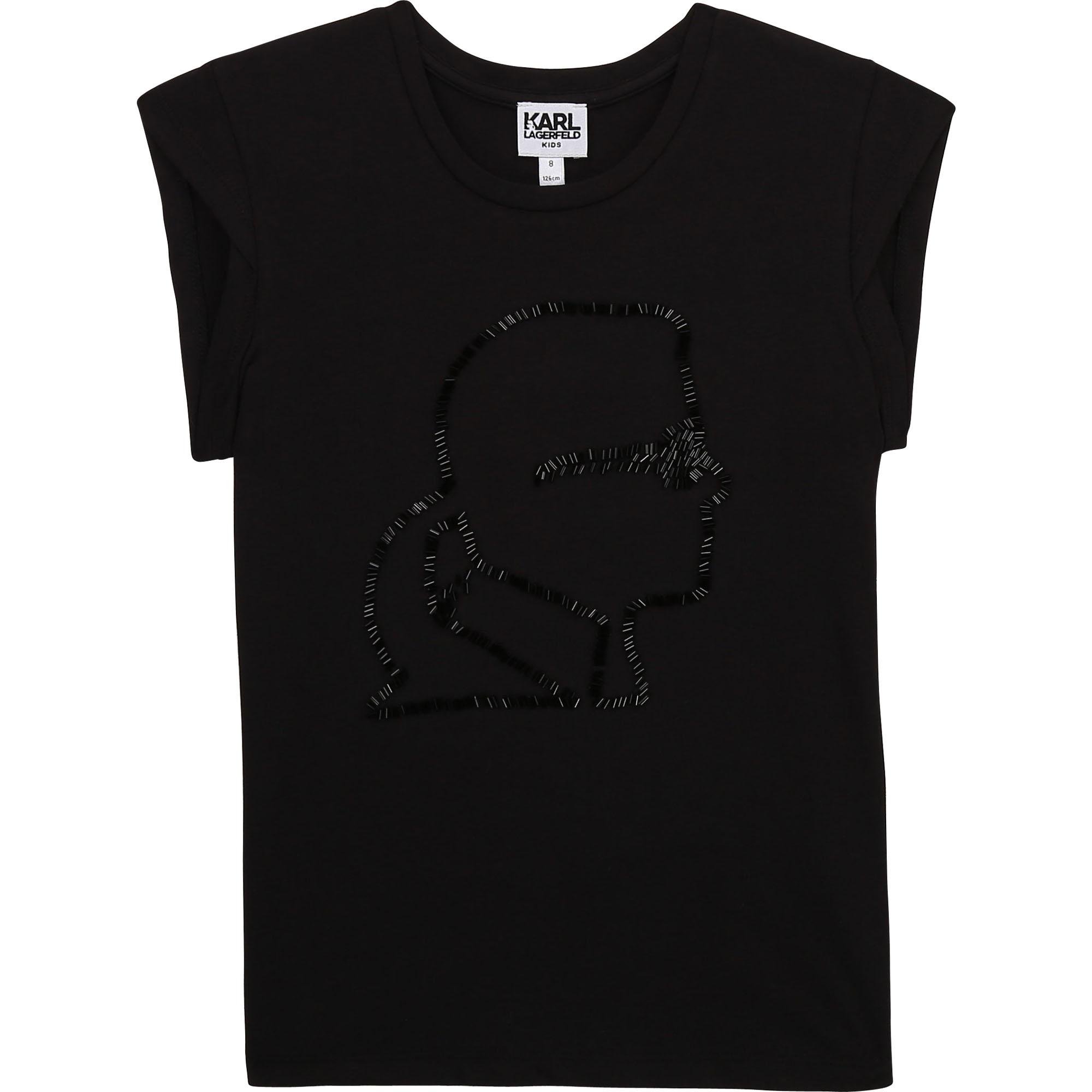 Novelty T-shirt with beading KARL LAGERFELD KIDS for GIRL