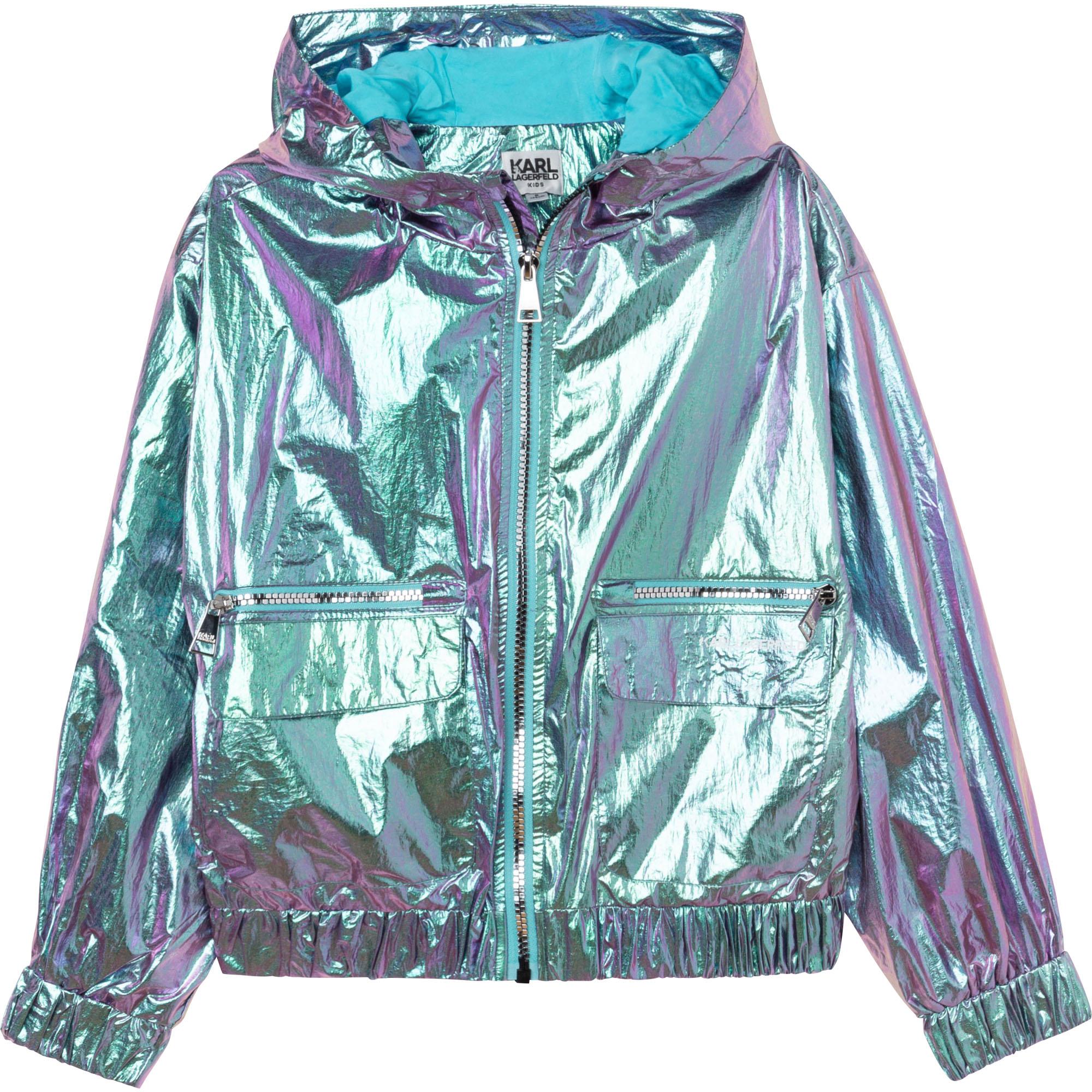 Waterproof hooded windbreaker KARL LAGERFELD KIDS for GIRL