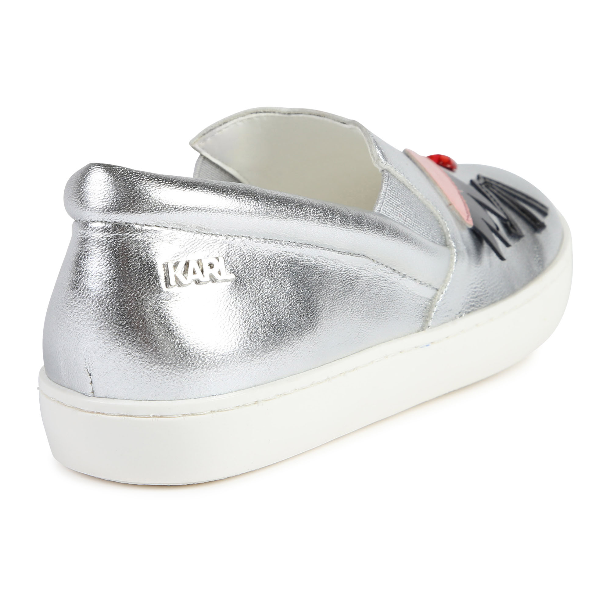 Silver leather shoes KARL LAGERFELD KIDS for GIRL