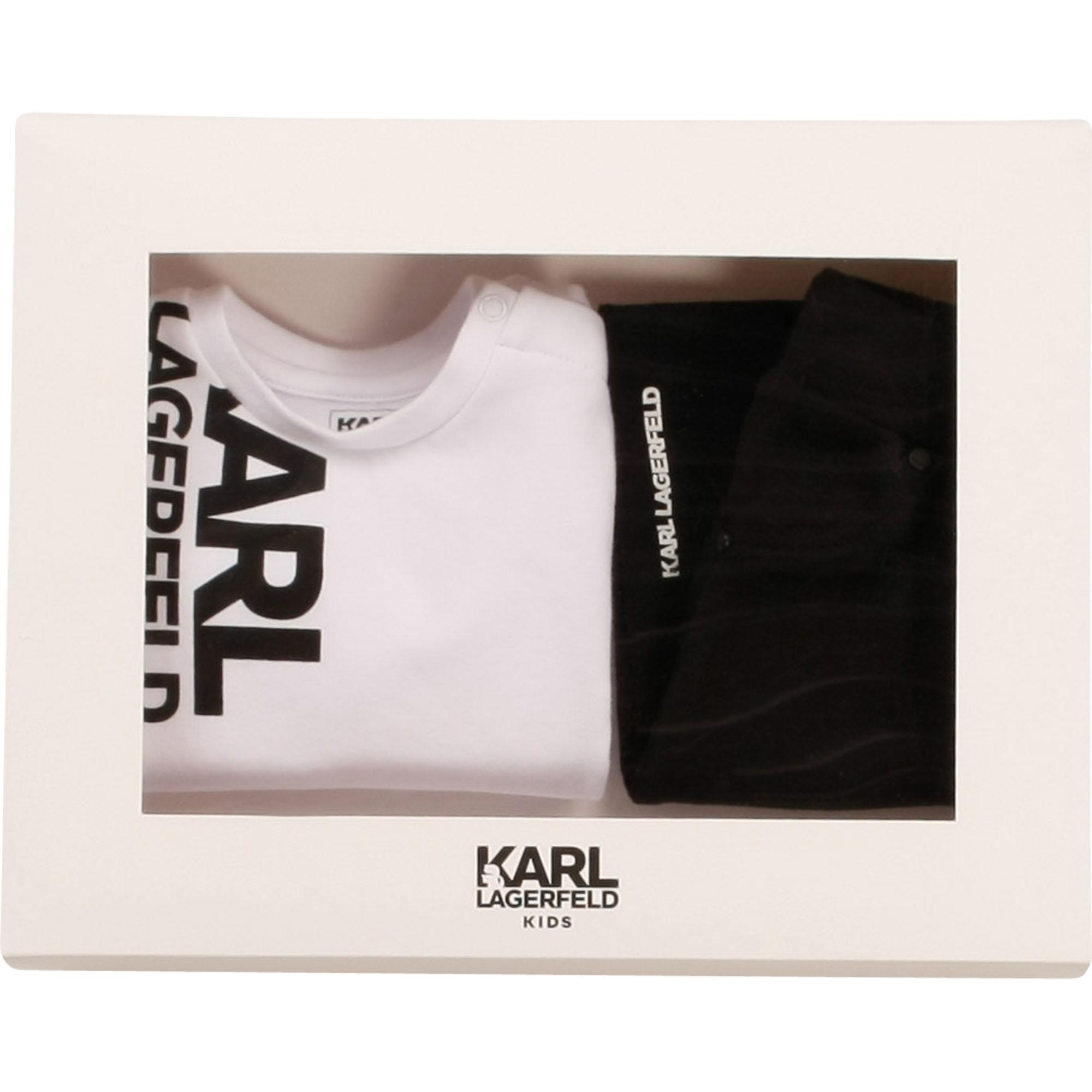 Ensemble sweat pantalon coton KARL LAGERFELD KIDS pour GARCON
