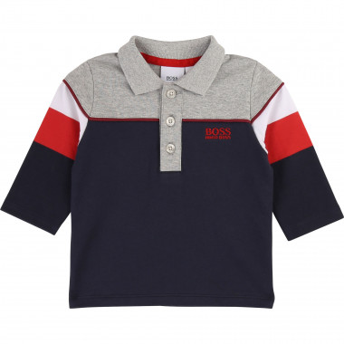 Polo coton color block BOSS pour GARCON