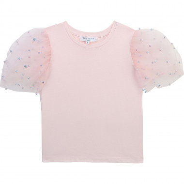 T-shirt manches tulle perlées CHARABIA pour FILLE