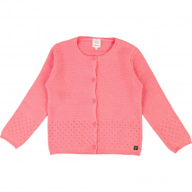 Cardigan point mousse col rond CARREMENT BEAU pour FILLE