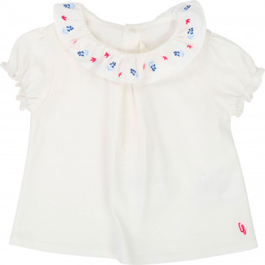 T-shirt col volants brodé CARREMENT BEAU pour FILLE