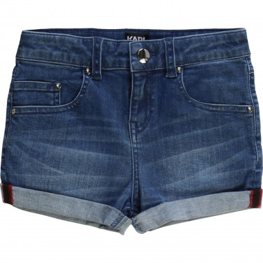 Short court en denim à revers KARL LAGERFELD KIDS pour FILLE