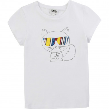 T-shirt à sequins multicolores KARL LAGERFELD KIDS pour FILLE