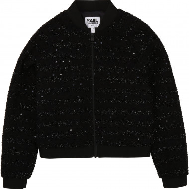 Bomber zippé tweed polyester KARL LAGERFELD KIDS pour FILLE