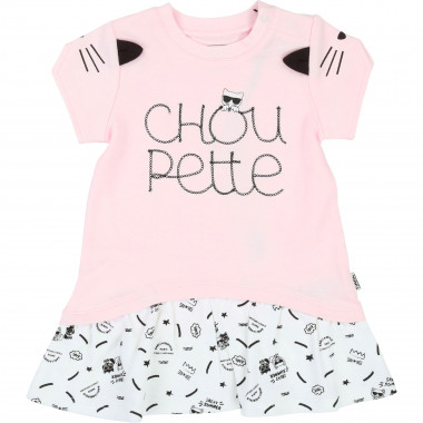 Robe bicolore brodée Choupette KARL LAGERFELD KIDS pour UNISEXE