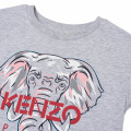 Robe avec éléphant imprimé en coton biologique KENZO KIDS pour FILLE
