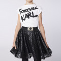 Jupe patineuse faux cuir KARL LAGERFELD KIDS pour FILLE