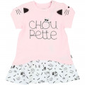 Robe bicolore brodée Choupette KARL LAGERFELD KIDS pour FILLE