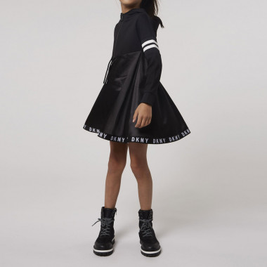 Dual-material hooded dress DKNY for GIRL
