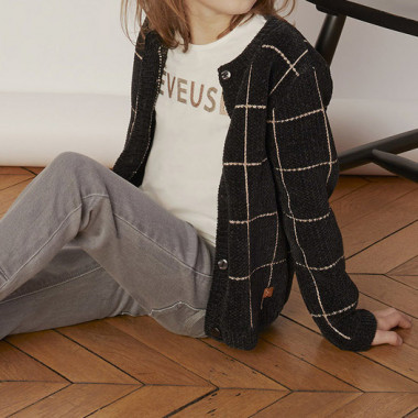 Checkered knitted cardigan CARREMENT BEAU for GIRL