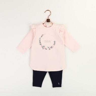 Cotton dress and legging set CARREMENT BEAU for GIRL