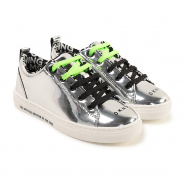 Patent trainers with logo DKNY for GIRL
