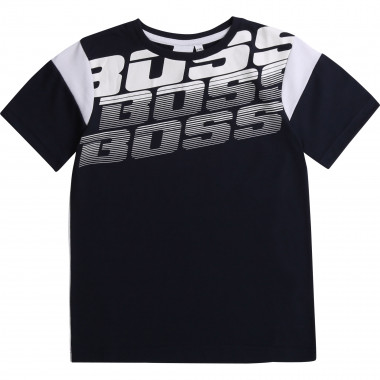 Two-tone dual-material T-shirt BOSS for BOY