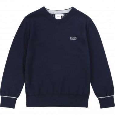 Combed cotton knitted jumper BOSS for BOY
