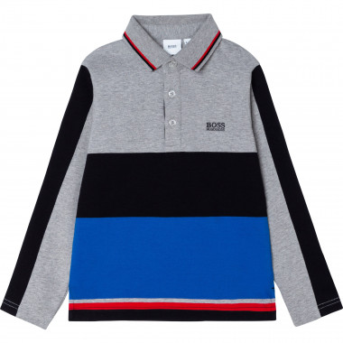 Striped slim fit cotton polo BOSS for BOY