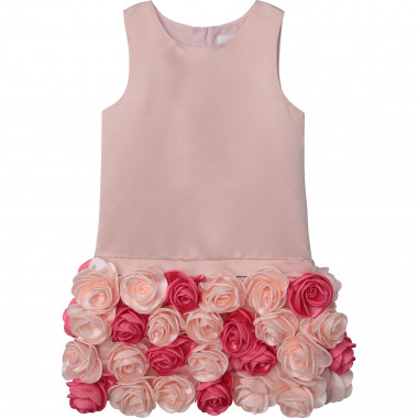 Satin dress with flowers CHARABIA for GIRL