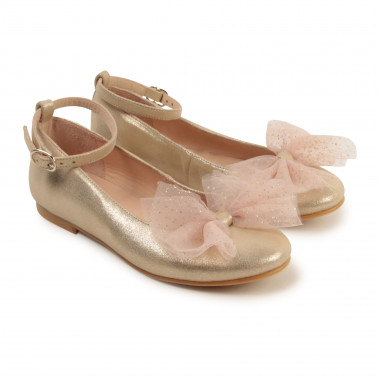 Gold leather ballerinas CHARABIA for GIRL